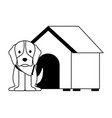 cute dog pet and house vector image