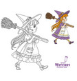 cute girl in witch suit goes forward holding vector image vector image
