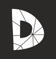 d white alphabet letter isolated on black vector image