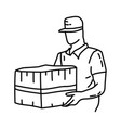 delivery icon doodle hand drawn or outline icon vector image