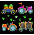 Doodle agricultural tractors on a black vector image