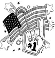 doodle americana foam hand bw vector image vector image