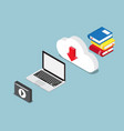 education online concept books lesson on cloud vector image