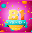eighty one years anniversary celebration design vector image