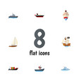 flat icon boat set of tanker yacht vessel and vector image