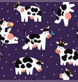 funny cows seamless pattern farm characters vector image