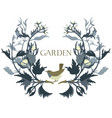 garden floral frame with a bird isolated object vector image vector image