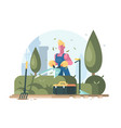 gardener cuts green bush vector image vector image