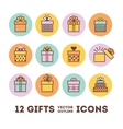 Gifts outline icons set for celebrating card vector image vector image