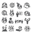 global business icons set on white background vector image vector image