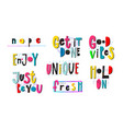 good vibes nope unique fresh enjoy hold lettering vector image vector image