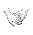 hands couple in love sketch vector image vector image
