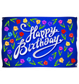 Happy birthday greeting card with flowers birds vector image