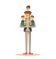 happy father with 3 children vector image vector image