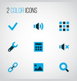 interface icons colored set with calculator link vector image vector image