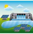 landscape hydroelectric panels solar - energy vector image vector image