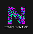 letter n logo with pink purple green particles vector image