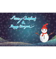 Merry christmas and happy newyear with snowman vector image