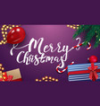 merry christmas purple greeting card vector image vector image