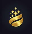 organic droplet gold logo vector image
