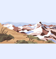 panoramic view calm nature landscape with snowy vector image