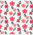 pattern with flora and leaves on white background vector image