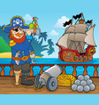 pirate ship deck topic 1 vector image vector image