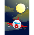 Plane night flying vector image vector image