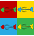 Pop art skeleton of fish icons vector image