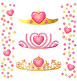 princess crowns with heart gem isolated on white vector image vector image