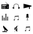 radio icon set vector image