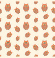 seamless pattern with funny owls cartoon style vector image