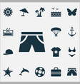 season icons set with shorts swimsuits pool and vector image