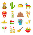 set mexico icons isolated on white background vector image
