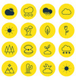 set of 16 nature icons includes snowstorm rain vector image vector image