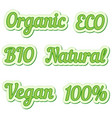 set sticker eco friendly and organic food labels vector image vector image