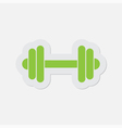 simple green icon - dumbbell vector image