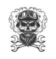 skull wearing biker helmet and goggles vector image vector image