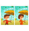 stop virus cartoon posters little boy and girl vector image vector image