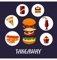 Takeaway food flat poster design vector image