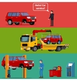 Tow truck transporting a broken machine to the car vector image