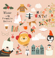 winter set with cute animals girl and holiday vector image vector image