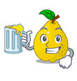 with juice ripe yellow quince fruit on mascot vector image