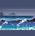 with sea storm and lighthouse sea waves and vector image vector image