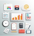 Workplace office and business work elements set vector image vector image
