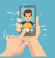 young happy man taking selfie photo on smartphone vector image vector image