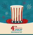 4th july independence day top hat decorative vector image