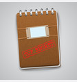 a notebook with a warning sign vector image vector image