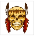 American native chief skull - vintage vesign vector image