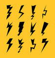 black color lightnings set isolated on yellow vector image vector image